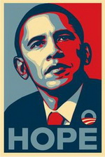 Shepard Fairey 'Hope' style portraits